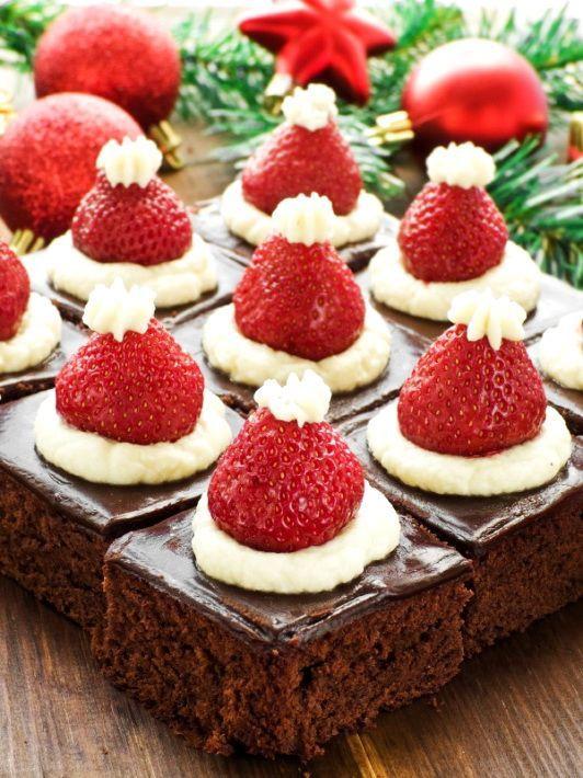 Christmas Desserts 2019  Santa Hat Mini Brownies – Healthy Christmas Party Dinner