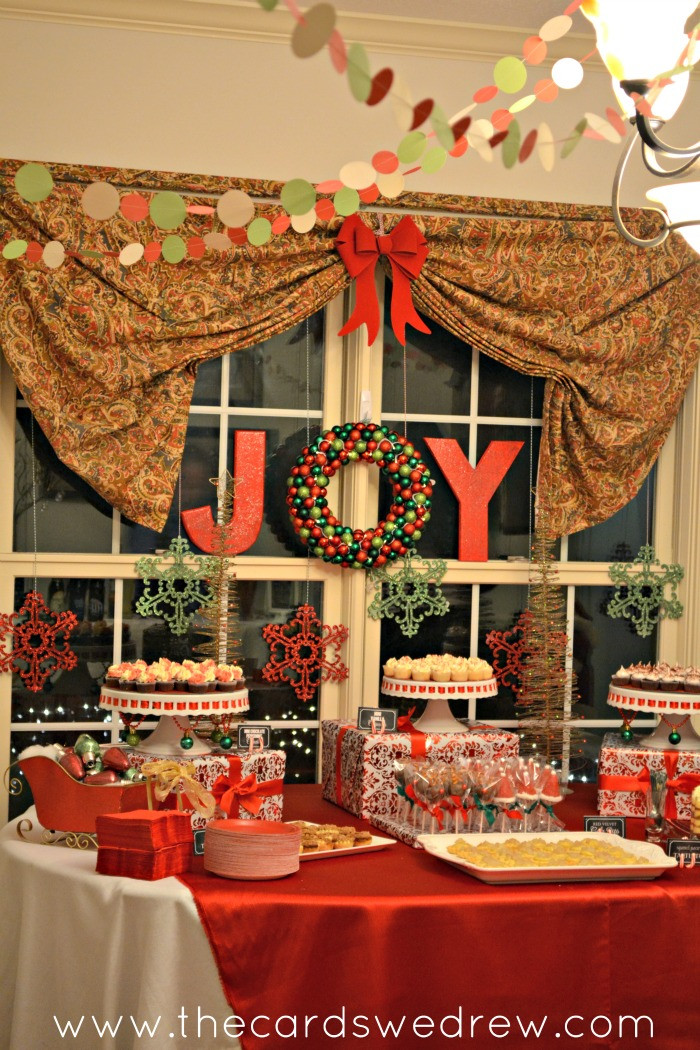 Christmas Desserts Party  Red and Green Christmas Party Dimple Prints