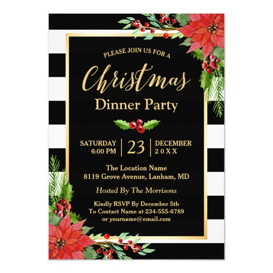 Christmas Dinner Invitation  Christmas Dinner Party Classic Poinsettia Floral