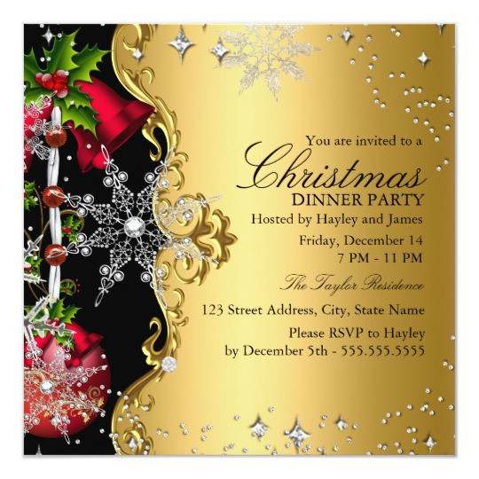 Christmas Dinner Invitation  Red green Gold Snowflake Christmas Dinner Party 3 Card