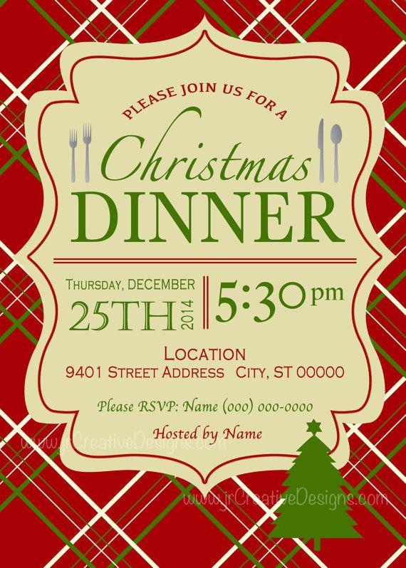 Christmas Dinner Invitation  Christmas dinner invite Christmas Dinner invitation