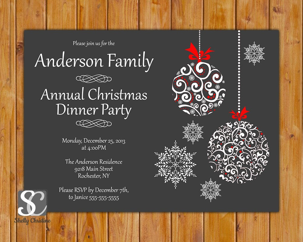 Christmas Dinner Invitation  Christmas Dinner Celebration Annual Party Invitation by
