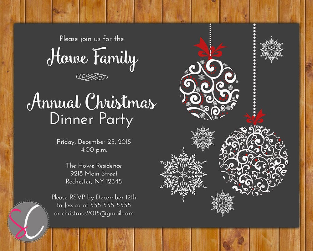 Christmas Dinner Invitation  Annual Christmas Dinner Party Invite Celebration Holiday