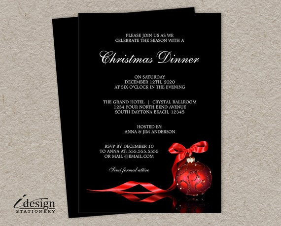 Christmas Dinner Invitation  Elegant Christmas Dinner Party Invitations Printable Holiday