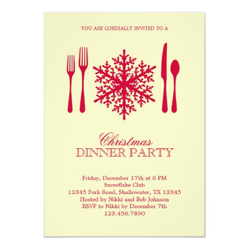 Christmas Dinner Invitation  Place Setting Christmas Dinner Party Invitation