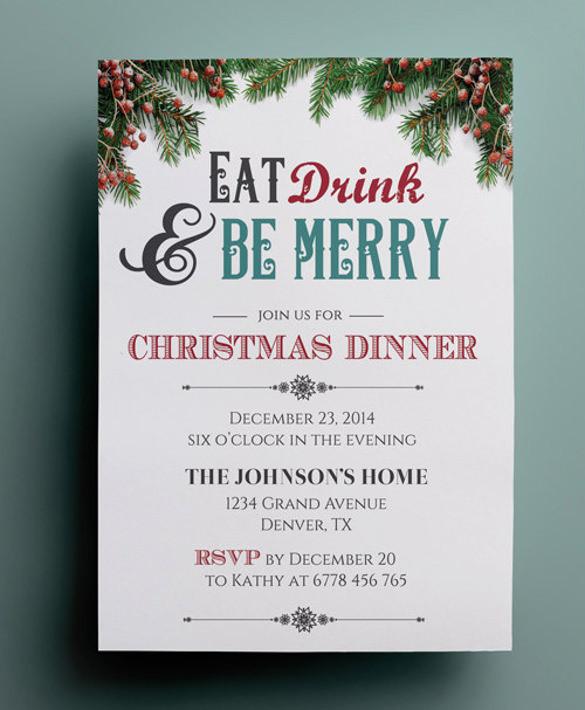 Christmas Dinner Invitation  56 Dinner Invitation Templates PSD Vector EPS AI