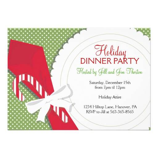 "Christmas Dinner Invitation  Christmas Dinner Party Invitations 5"" X 7"" Invitation Card"