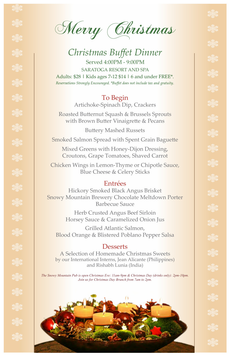 Christmas Dinner Menus  Join us for a Christmas Day Dinner and New Years Eve Buffet