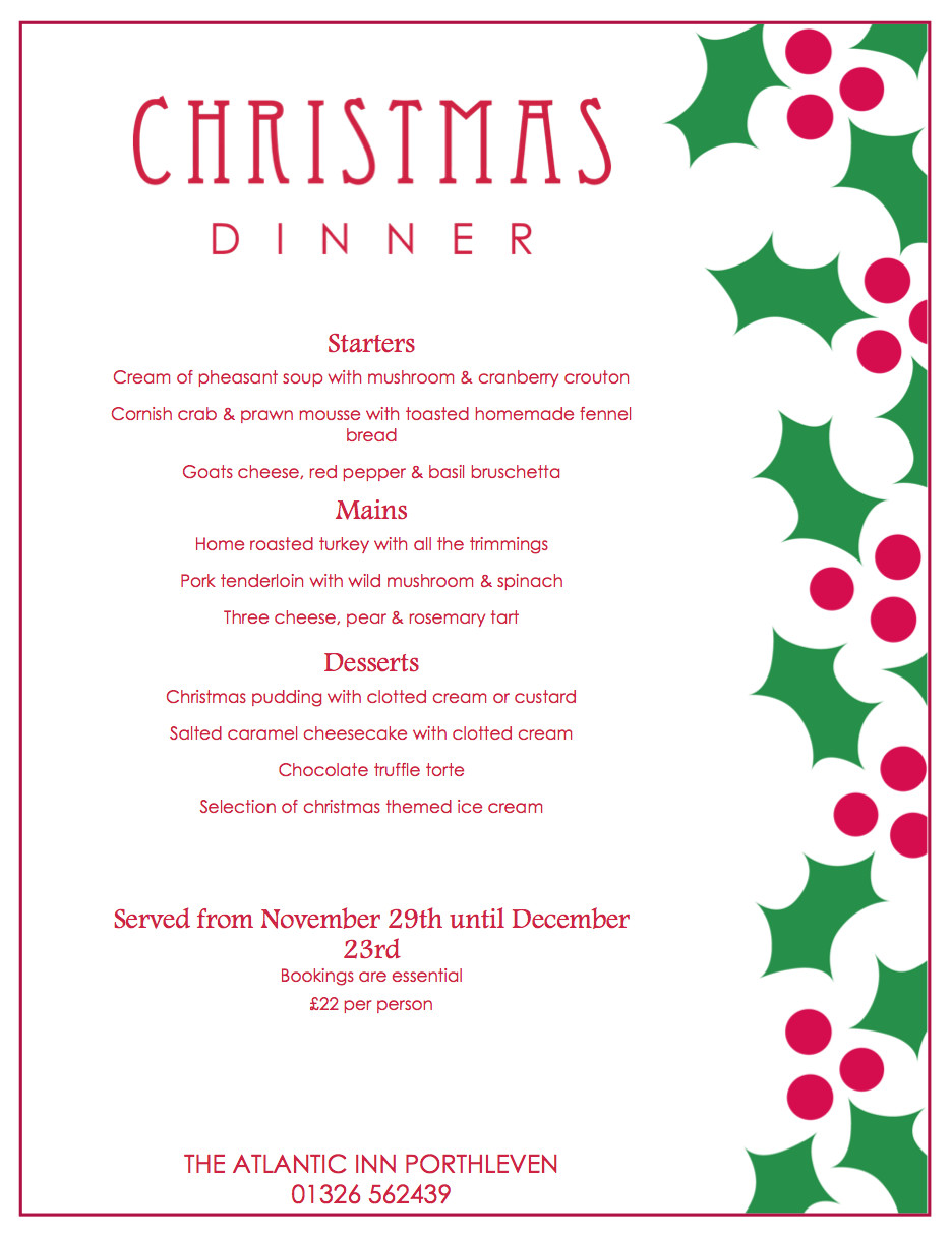 Christmas Dinner Menus  Christmas Party Menu and New Year's Eve Dinner 2015