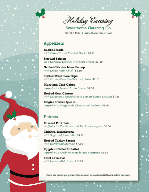 Christmas Dinner Menus  Christmas Dinner Catering Menu