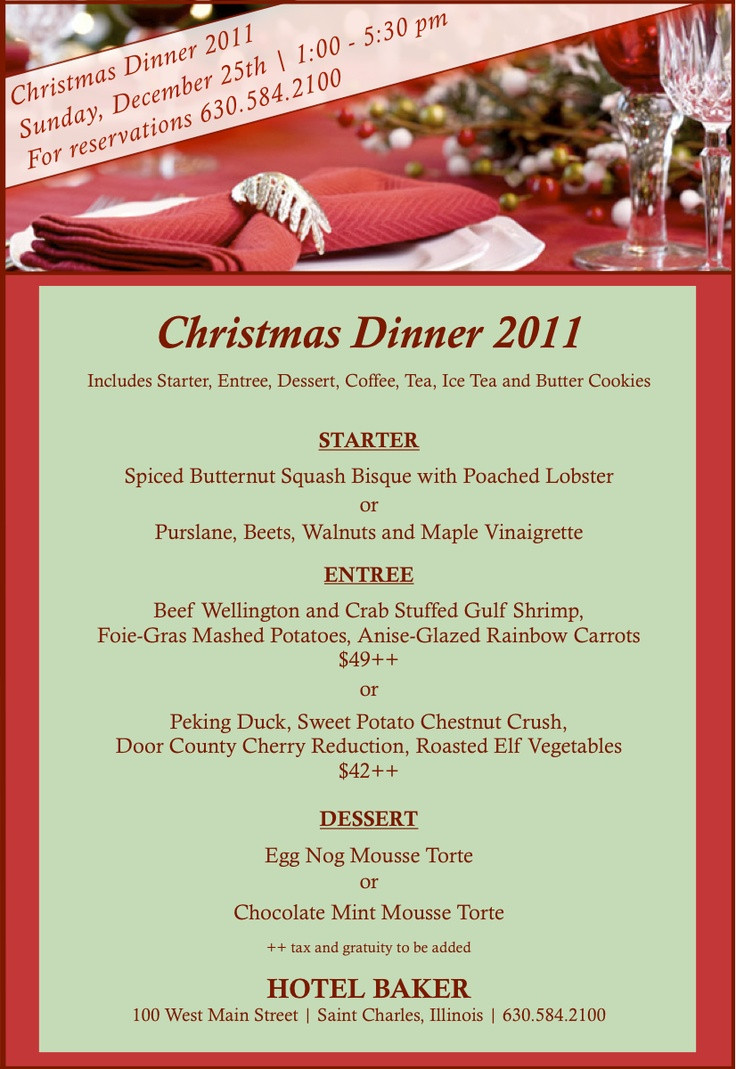 Christmas Dinner Menus  17 Best images about Christmas Menus on Pinterest
