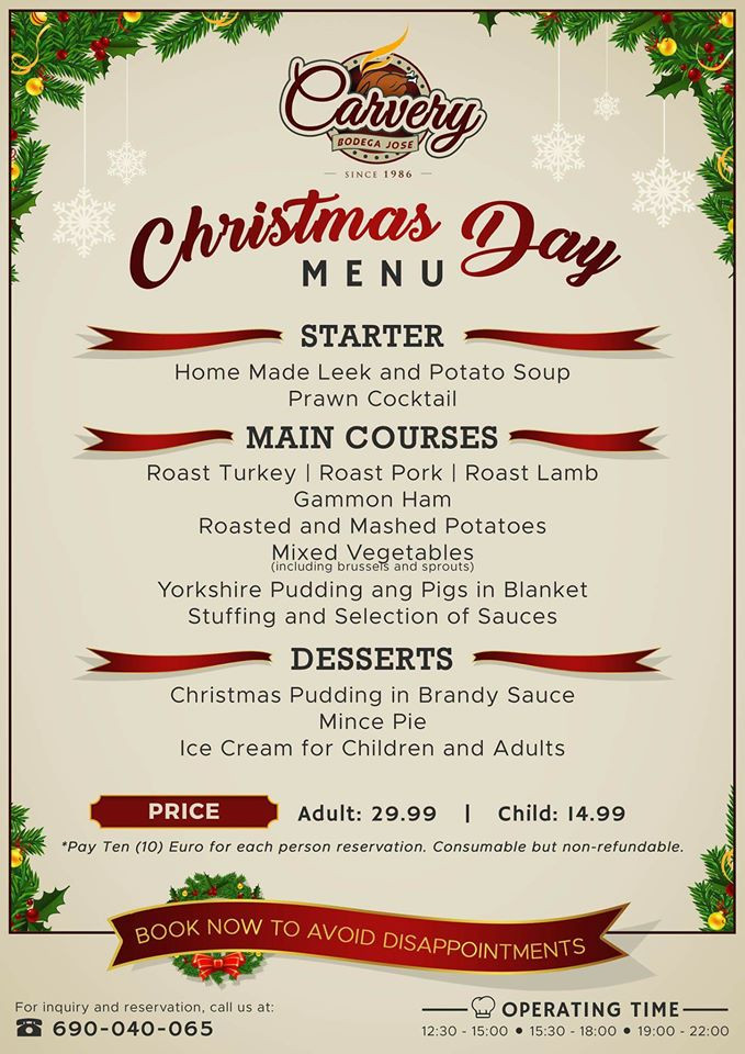 Christmas Dinner Menus  Christmas Dinner in Puerto del Carmen Lanzarote 2018