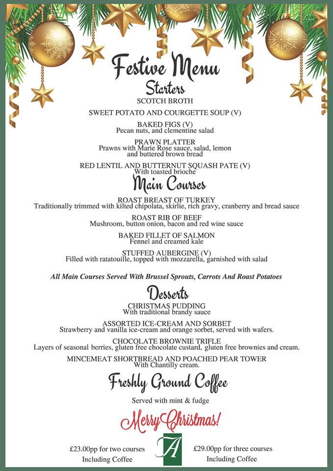 Christmas Dinner Menus  Christmas dinner in winterABDN VisitAberdeenshire