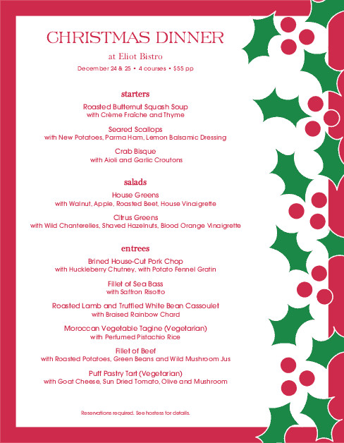 Christmas Dinner Menus  Christmas Eve Dinner