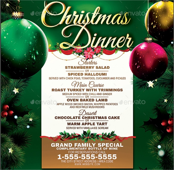 Christmas Dinner Menus  25 Dinner Party Menus PSD AI Word