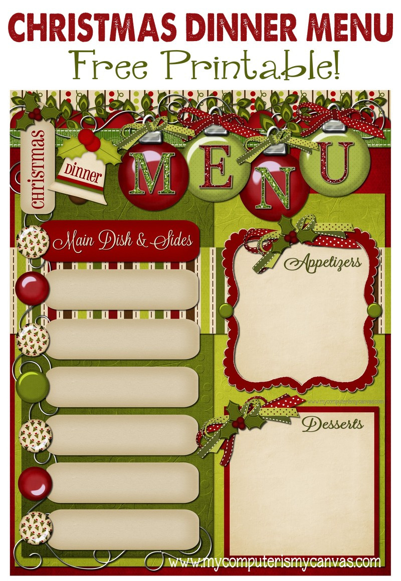 Christmas Dinner Menus  FREEBIE Christmas Day Menu Planner