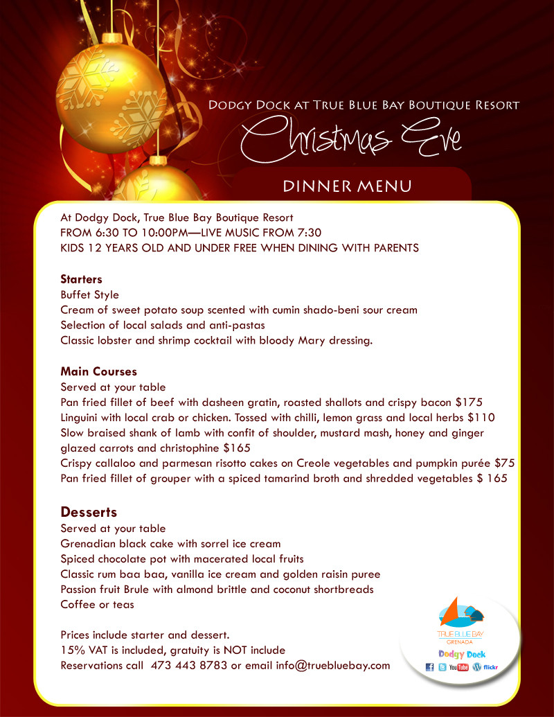 Christmas Dinner Menus  dinner menu