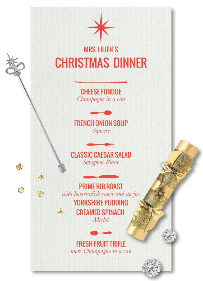 Christmas Dinner Menus  Mrs Lilien s Christmas Dinner Menu