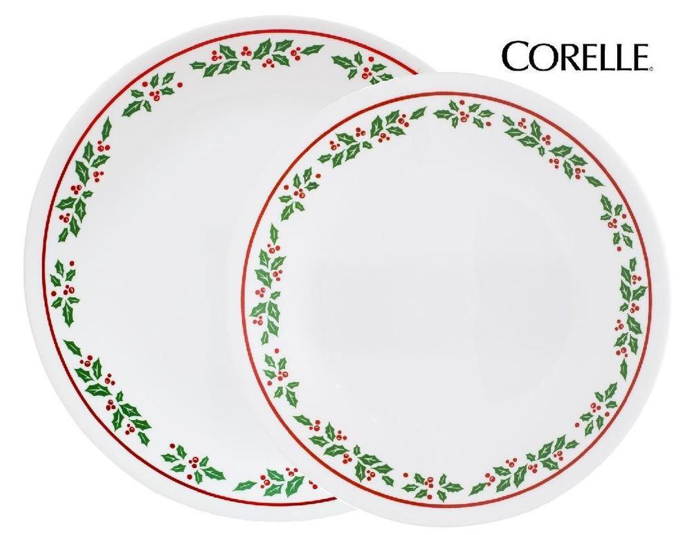 Christmas Dinner Plates  6 Corelle WINTER HOLLY Choose DINNER or LUNCH PLATES
