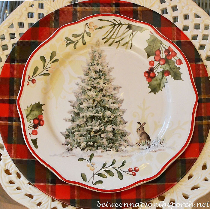 Christmas Dinner Plates  Nature Themed Christmas Table Setting Tablescape