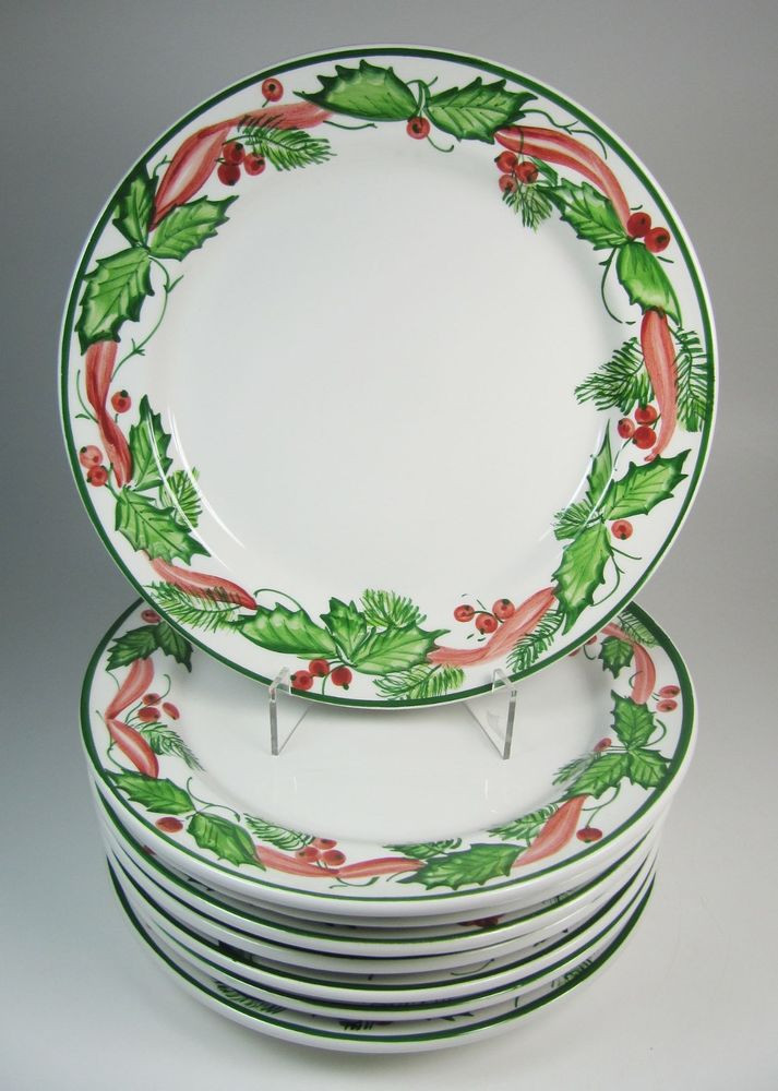 Christmas Dinner Plates  Eight Italian Ceramic Hand Painted Holly Christmas Dinner