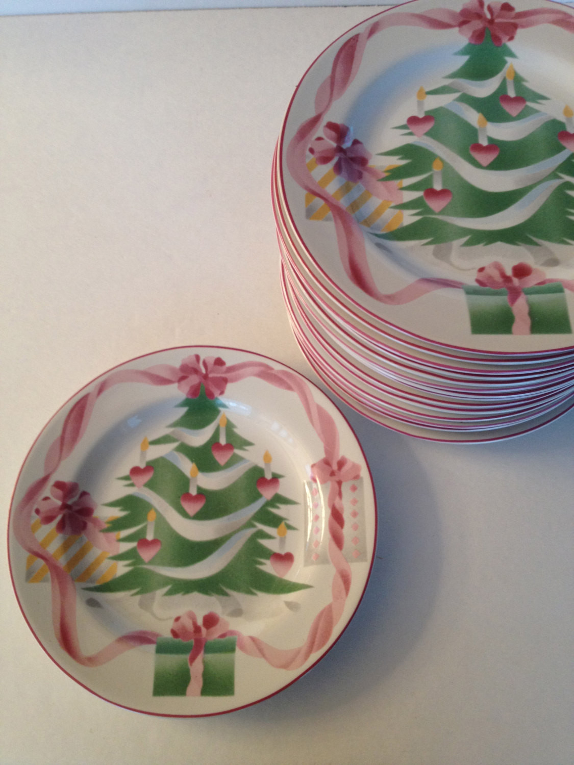 Christmas Dinner Plates  Christmas Dinner Plates Green Pink by Sango 10 Available