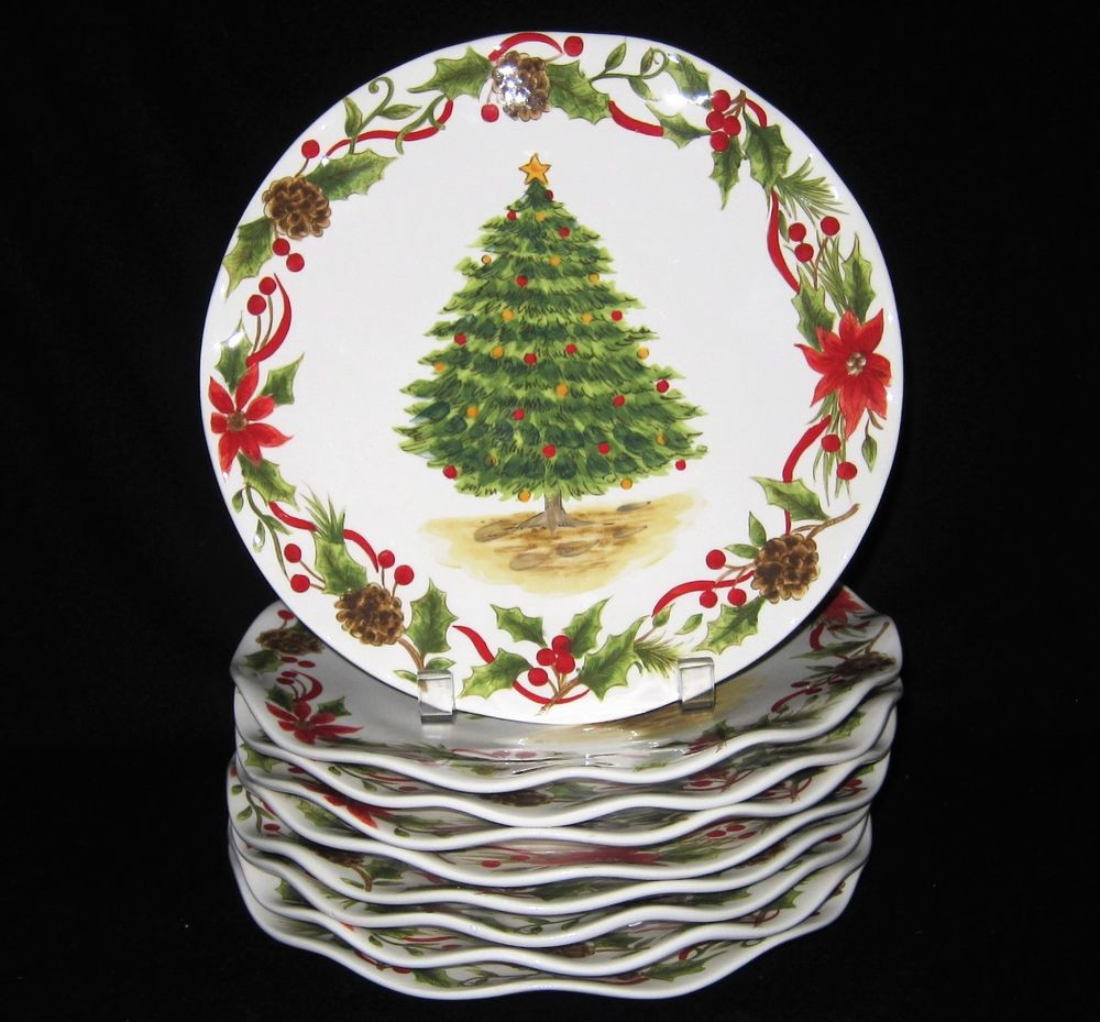 Christmas Dinner Plates  MAXCERA TREE & BOUGH CHRISTMAS DINNER SALAD PLATES Tree