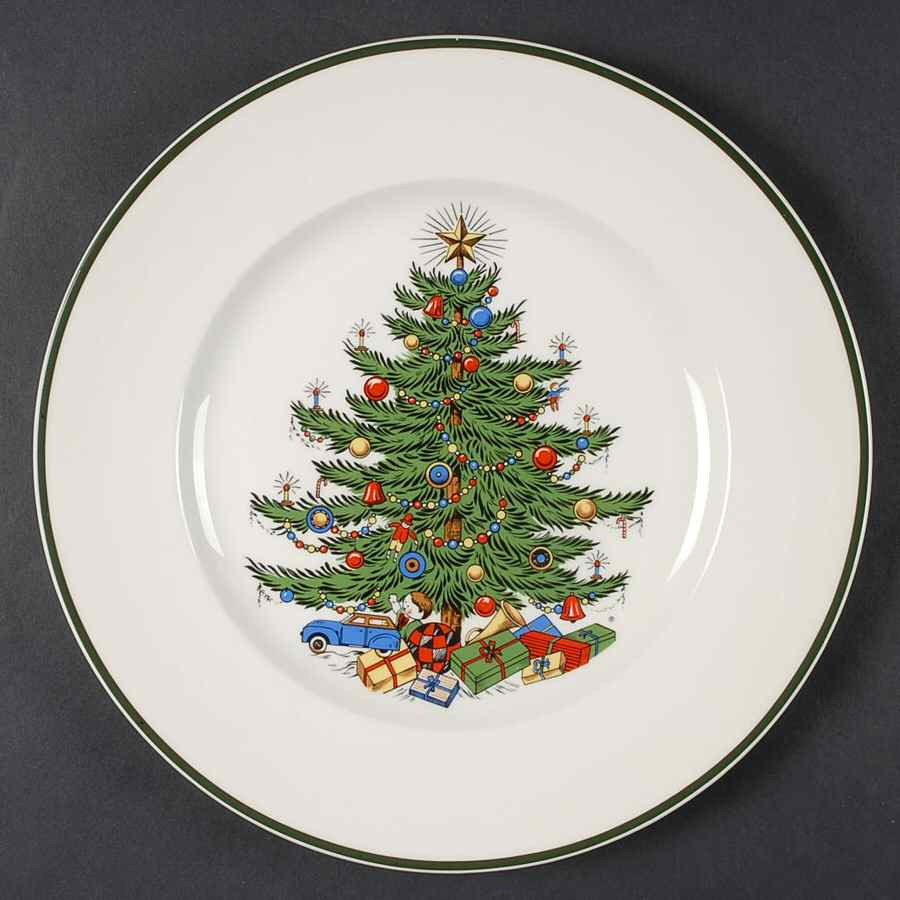 Christmas Dinner Plates  Cuthbertson CHRISTMAS TREE Thin Green Band Dinner Plate