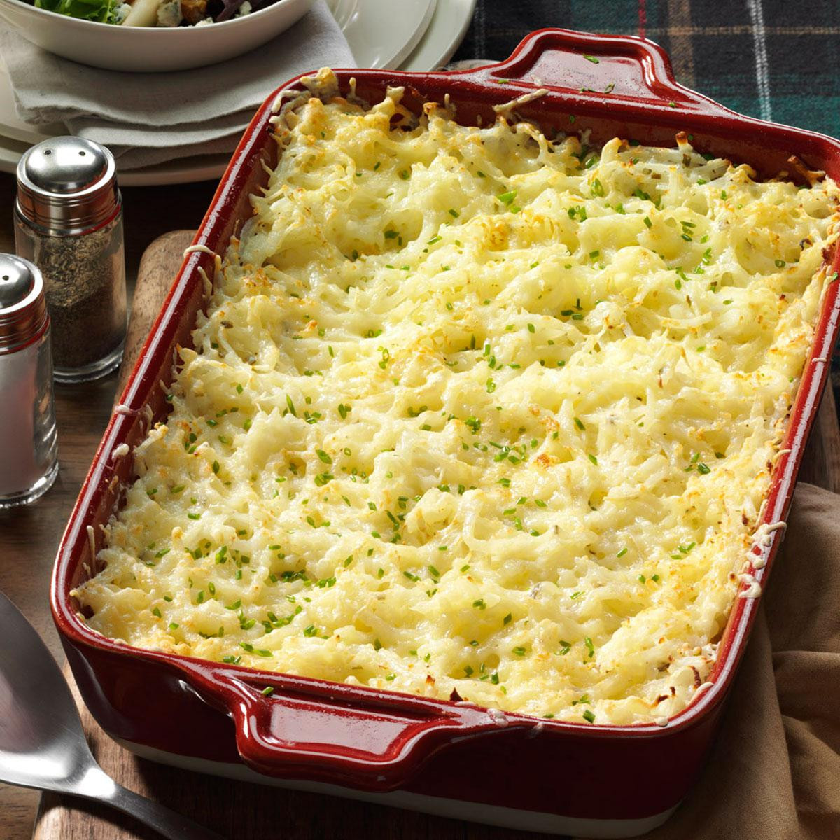 Christmas Dinner Side Dishes Food Network  Chive & ion Hash Brown Potatoes Recipe