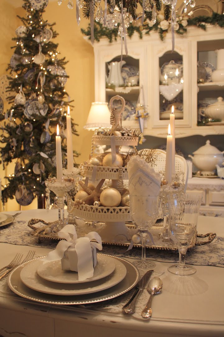 Christmas Dinner Table Decorations  My Romantic Home Setting a beautiful table