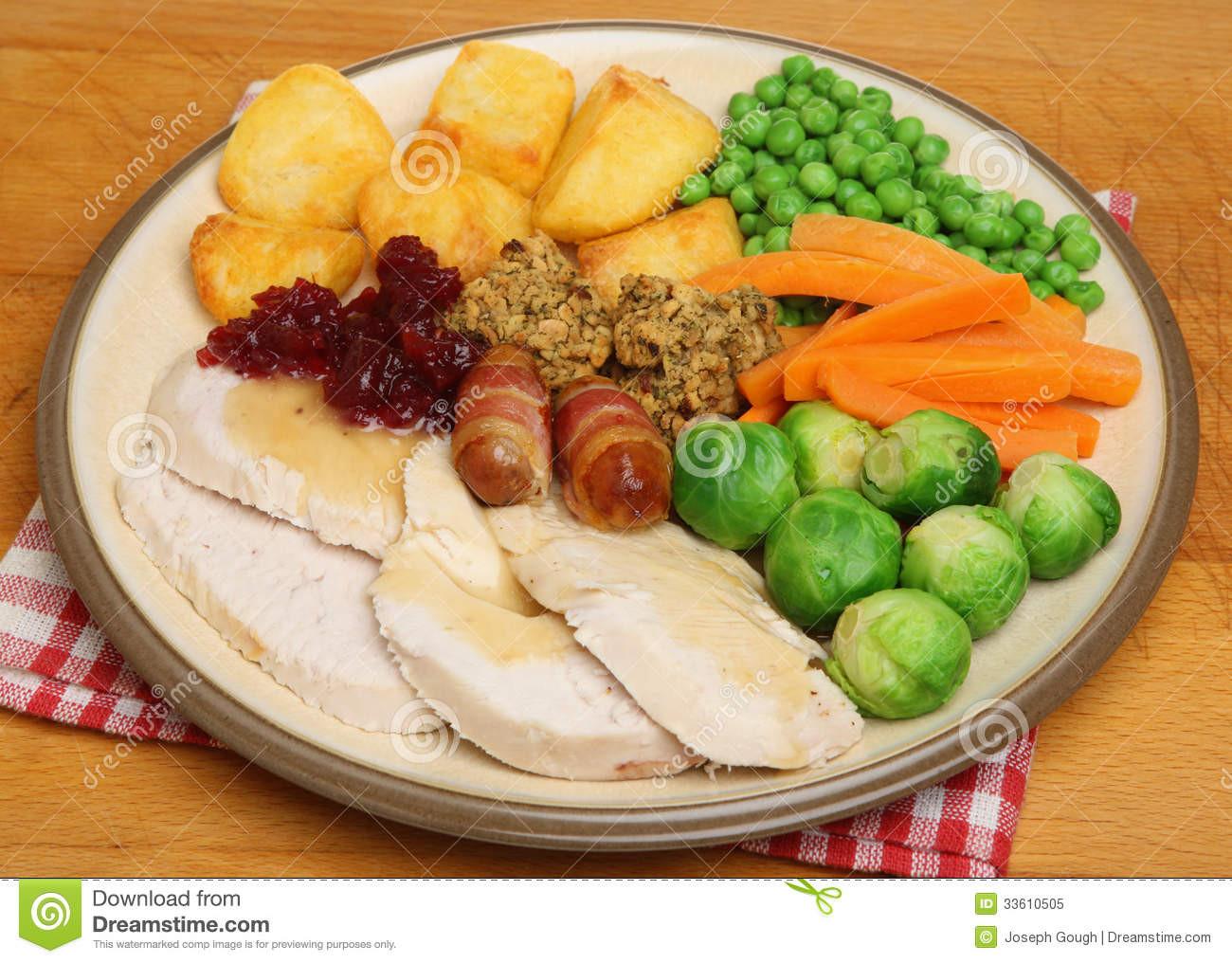 Christmas Dinner Vegetables  Christmas Dinner Roast Turkey Stock Image Image of