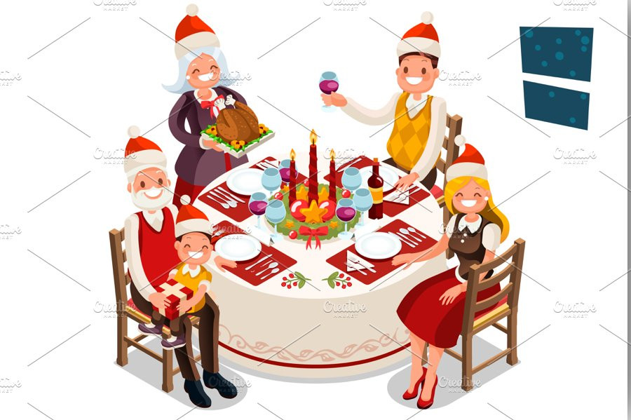 Christmas Dinners For Kids  Christmas Eve Family Dinner Party Illustrations