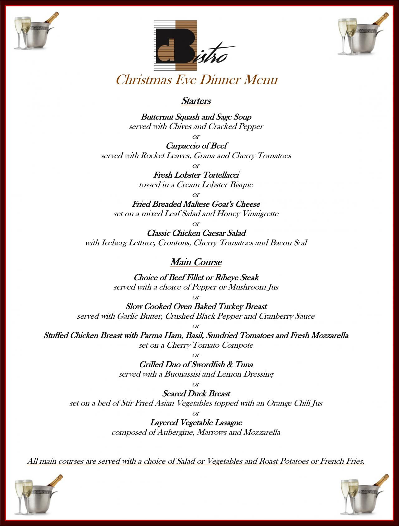 Christmas Eve Dinner Menu  Christmas Eve at dBistro Restaurant db San Antonio Hotel