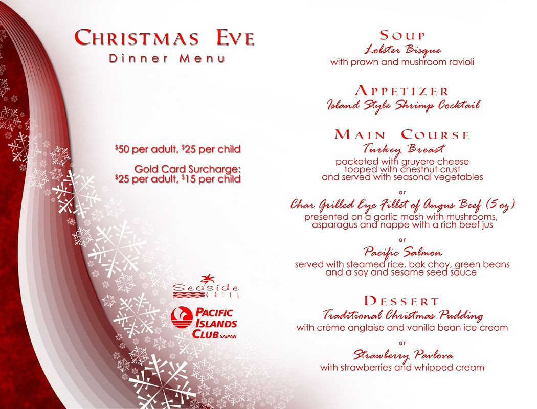Christmas Eve Dinner Menu  Christmas Eve Dinner Menu at PIC's Seaside Grill & The