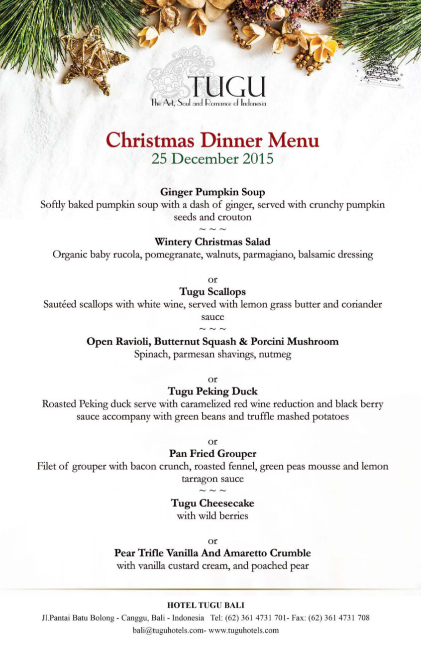 Christmas Eve Dinner Menu  Christmas Day and New Year s Eve at Hotel Tugu Bali 2015