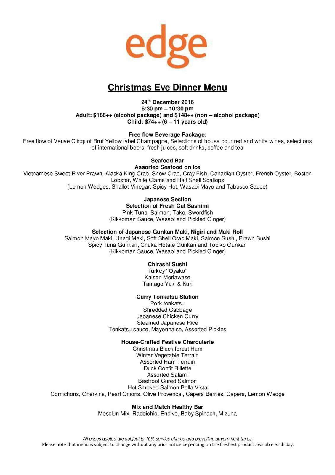 Christmas Eve Dinner Menu  SuMMeR LoVes To Eat Singapore Food Blog List of Hotels