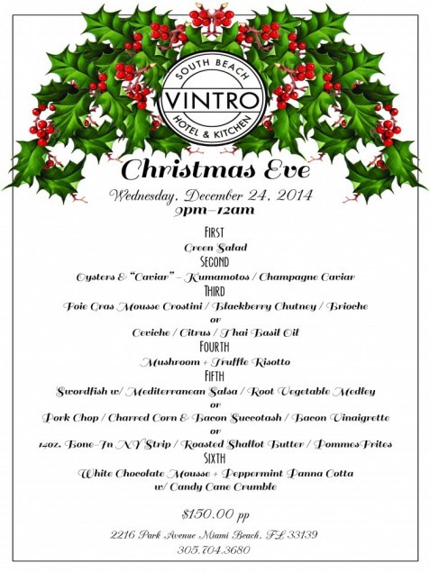 Christmas Eve Dinner Menu  Christmas Eve Dinner at VINTRO Hotel & Kitchen – Miami s