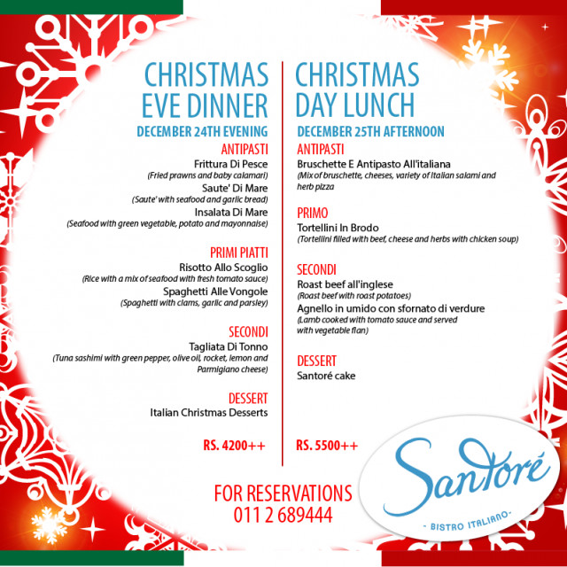 Christmas Eve Dinner Menu  Christmas Eve Dinners In Colombo 2014 · YAMU
