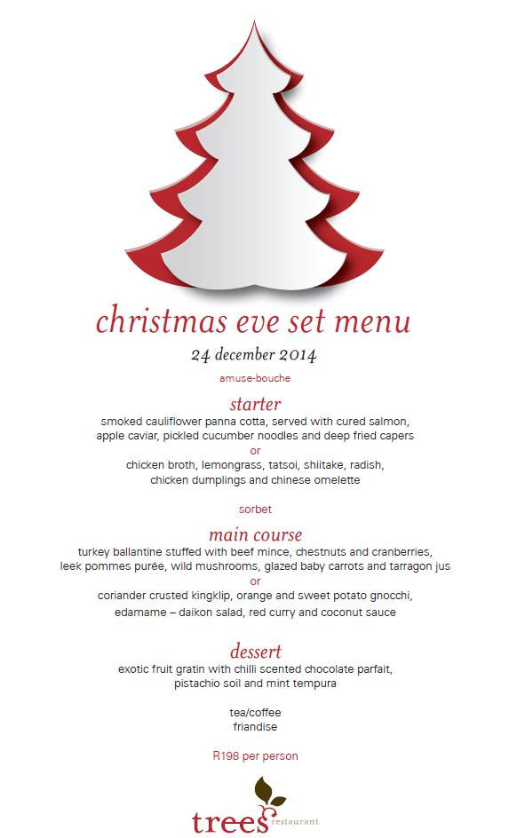 Christmas Eve Dinner Menu  Christmas Eve Dinner at Trees Restaurant