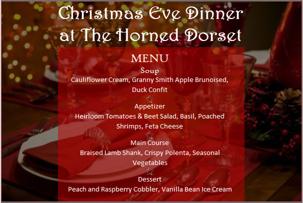 Christmas Eve Dinner Menu  Christmas Eve Menu is Here