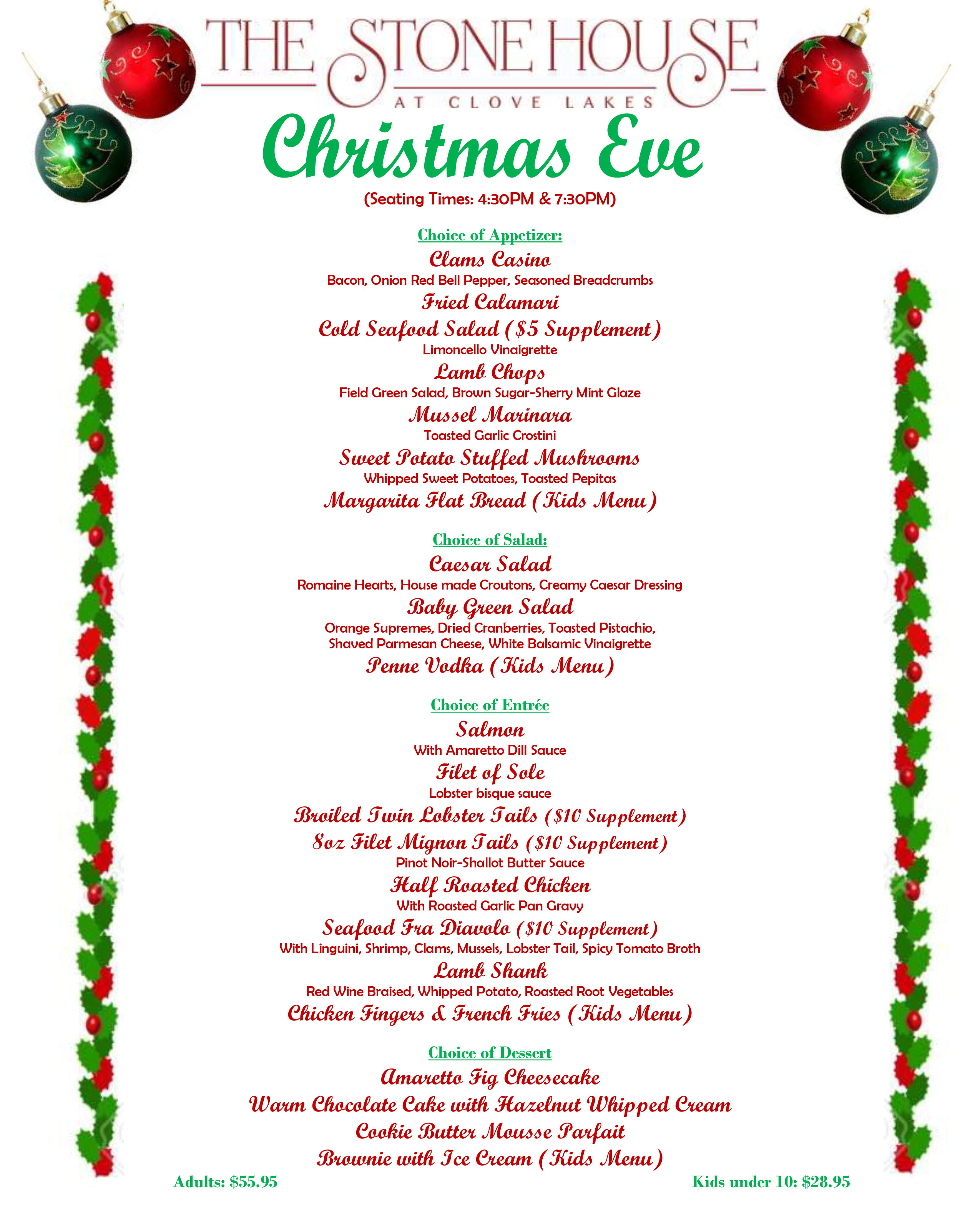 Christmas Eve Dinner Menu  Christmas Eve Menu