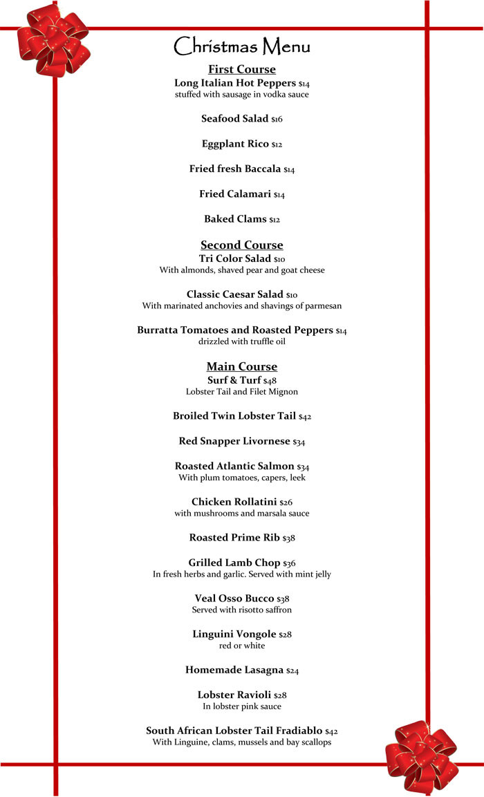 Christmas Eve Dinner Menu  Sophia Italian Bistro Christmas Eve Dinner