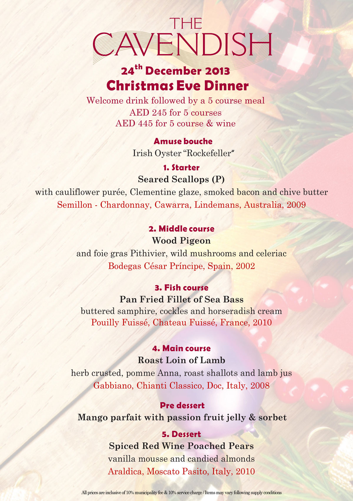 Christmas Eve Dinner Menu  Food & Beverage