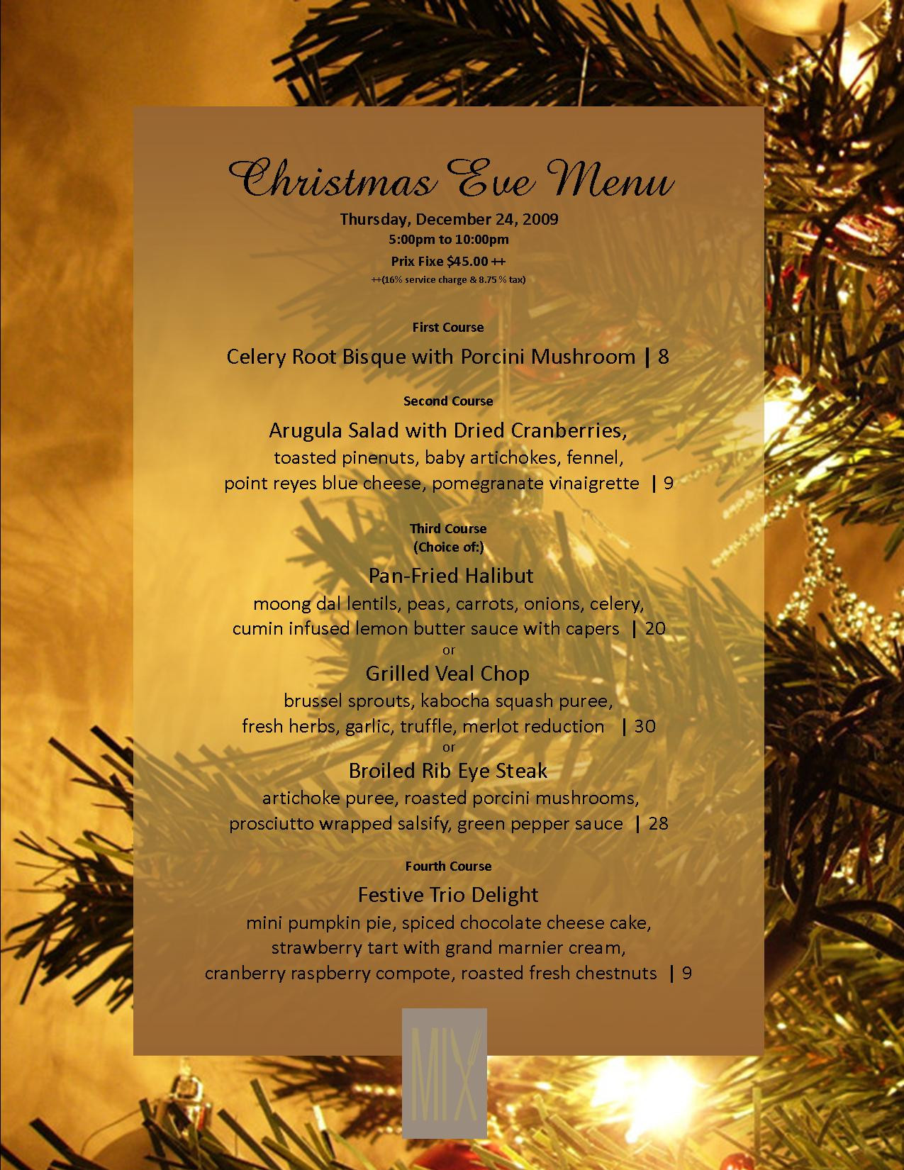 Christmas Eve Dinner Menu  Christmas Menu