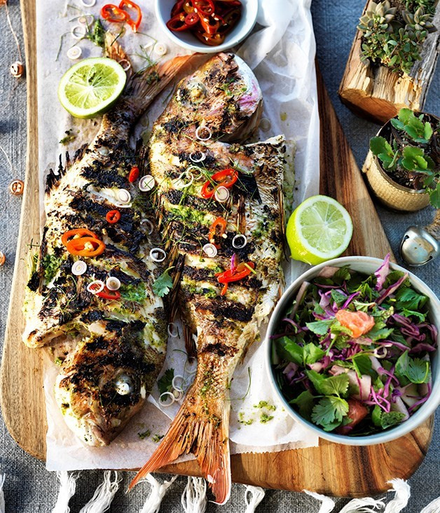 Christmas Fish Recipes  Barbecued whole fish with lemongrass and lime leaves