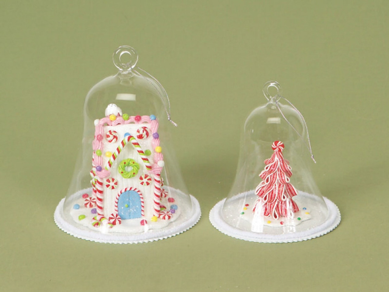 Christmas Glass Candy  Candy House and Tree Glass Dome Christmas Ornaments