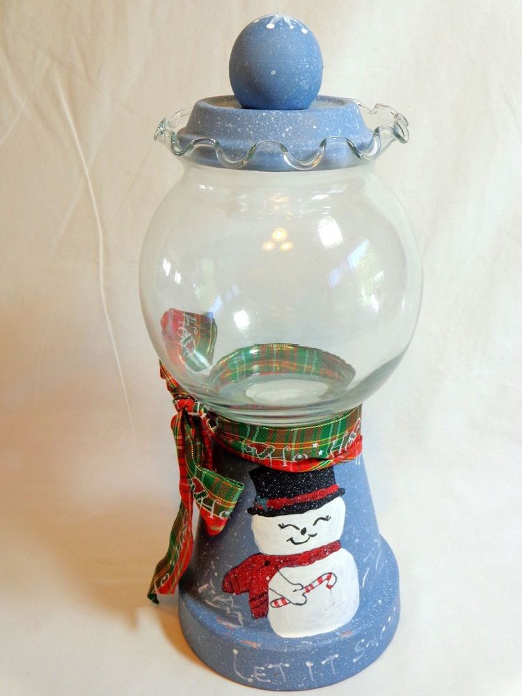 "Christmas Glass Candy  Gumball Jar Christmas Snowman 11"" Blue LET IT SNOW Stone"