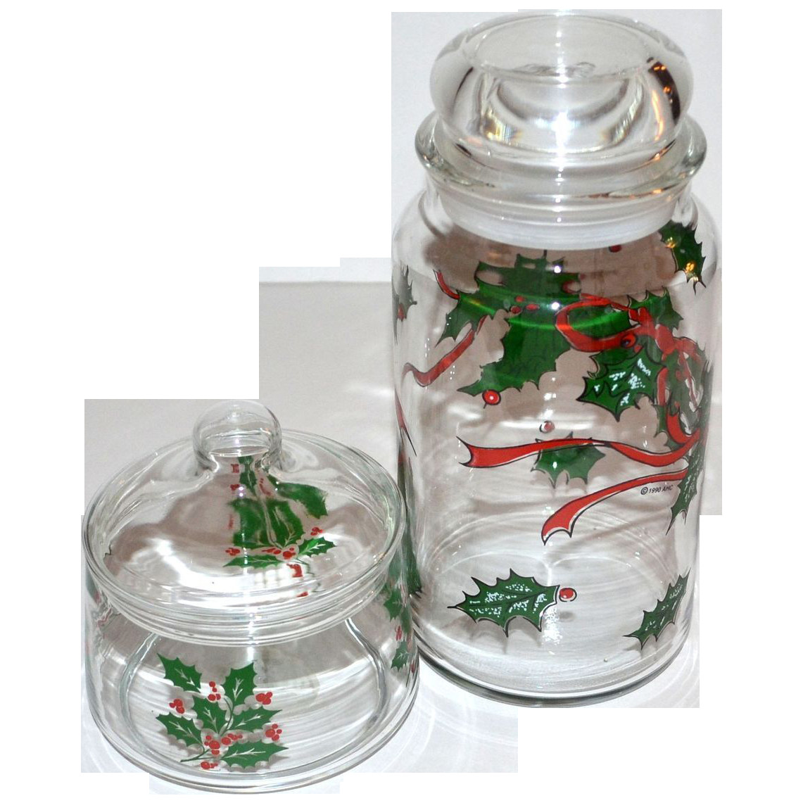 Christmas Glass Candy  Set of 2 Christmas Holly Glass Candy Jars from