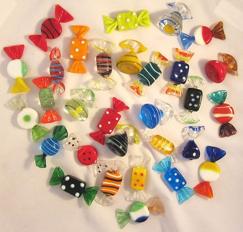 Christmas Glass Candy  60 Vintage Murano Art Glass Candy Lollies Sweets Can s