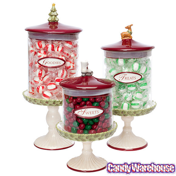 Christmas Glass Candy  Christmas Glass Candy Canisters Set of 3